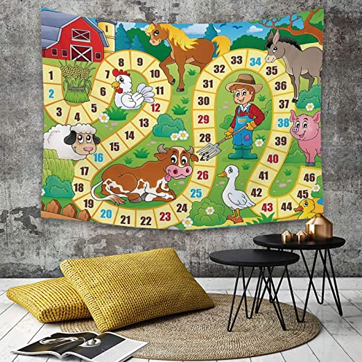 Tapestry,Hippie Tapiz,tapiz de pared con decoración para el hogar,Juego de mesa, Casa de campo rústica, Medio ambiente agrícola, Animales,para picnic Mantel o Toalla de Playa redonda 130 x 150 cm: Amazon.es: Hogar