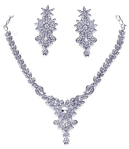 Zaveri Pearls Austrian Diamond Necklace Set for Women-ZPFK467 Jewellery Sets at amazon