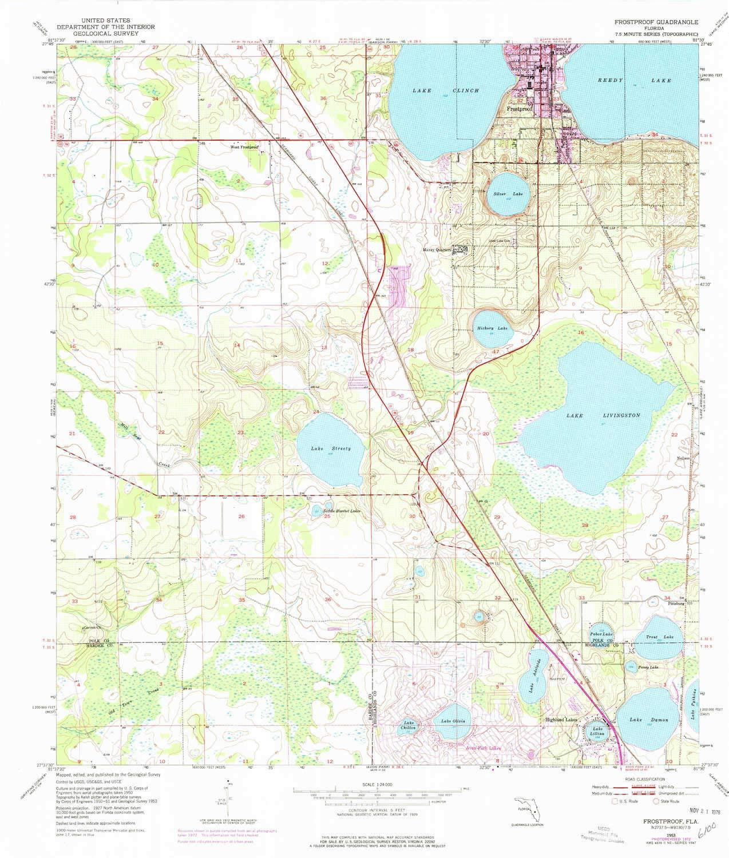 Frost Proof Florida Map.Amazon Com Yellowmaps Frostproof Fl Topo Map 1 24000 Scale 7 5 X