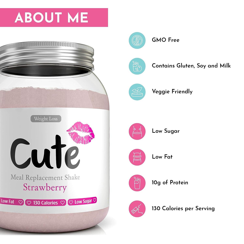 Cute Nutrition Batido de Reemplazo de Comida Sabor Fresa para el Control de la Pérdida de Peso en Polvo Bebida Dietética para Mujer Bote de 500 g