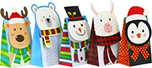 Iconikal Christmas Holiday Die-Cut Flip Over Treat & Gift Bags, 20-Count