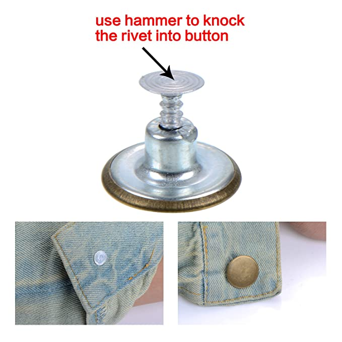60Set Metal One Star Pattern Jeans Denim Buttons Tack Hammer On Bronze Tone 17mm