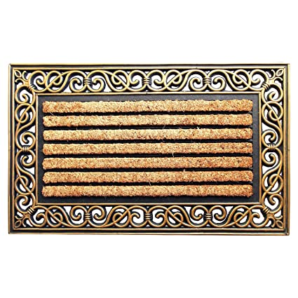 Onlymat Rubber Coir Doormat,Brown Black ,75 Cm X 45 Cm X 1 Cm