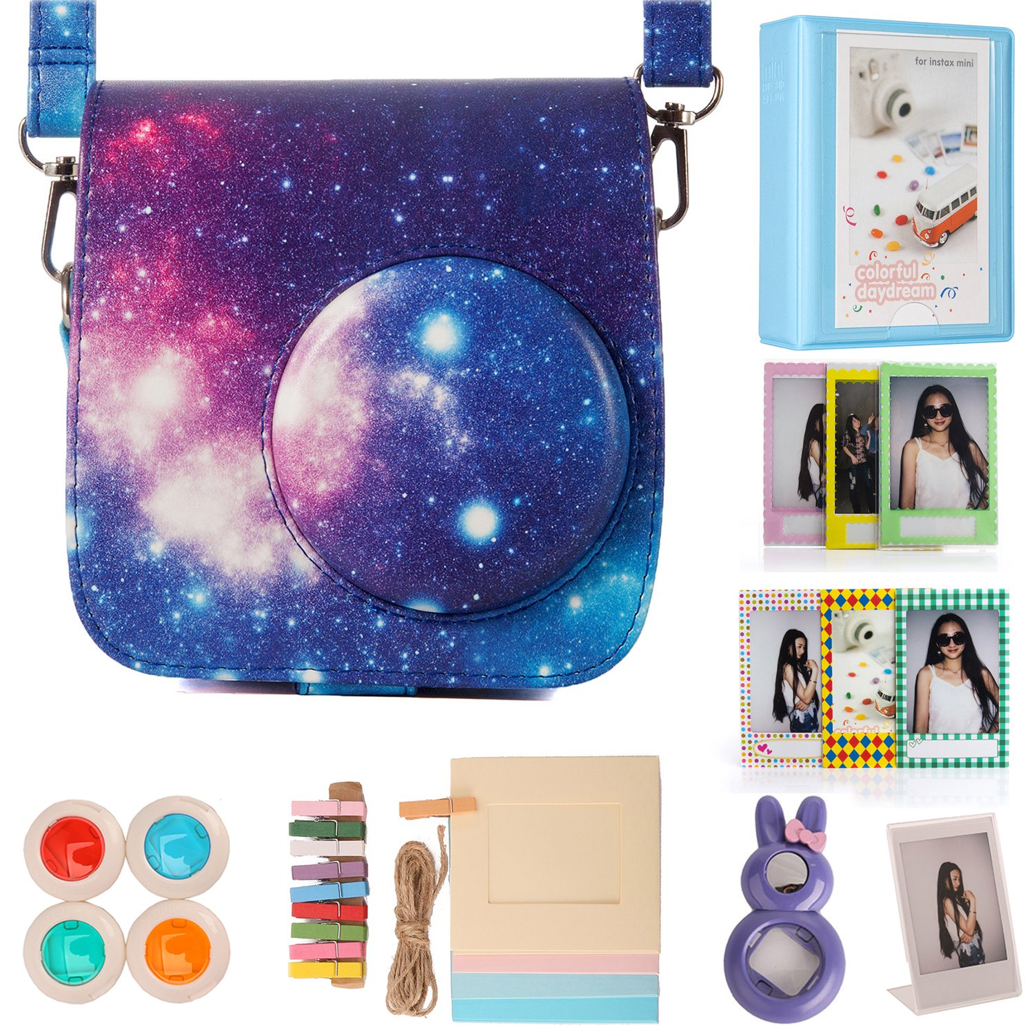 Woodmin Flamingo Pink PU Leather Instax Camera Compact Bag for Fuji Mini 7st 7C PIC-300 Instant 0941450OOA