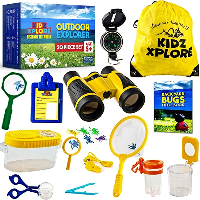 Kidz Xplore Outdoor Explorer Set 20 pc - Nature Exploration Kit Children Outdoor Games Mini Binoculars Kids, Compass, Whistle, Magnifying Glass, Bug Catcher, Adventure, Fishing, Hiking Educational Toy