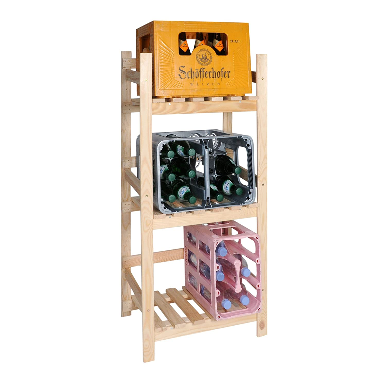 H 112 x B 52 x T 36,5 cm Kastenregal//Getr/änkeregal//Regal f/ür Getr/änkekisten Kiefer Natur Holz