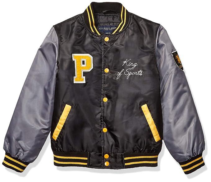 US Polo Association Toddler Boys Nylon Varsity Jacket, Black ...