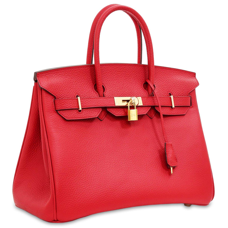 SanMario Designer Handbag Top Handle Padlock Women's Leather Bag with Golden Hardware Red 35cm/14'' by SanMario (Image #3)