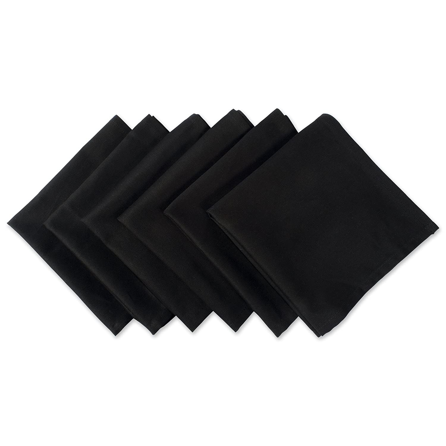 "DII 100% Cotton Cloth Napkins, Oversized 20x20"" Dinner Napkins, For Basic Everyday Use, Banquets, Weddings, Events, or Family Gatherings - Set of 6, Black"