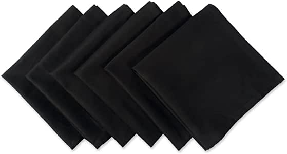 """DII 100% Cotton Cloth Napkins, Oversized 20x20"""" Dinner Napkins, For Basic Everyday Use, Banquets, Weddings, Events, or Family Gatherings - Set of 6, Black"""