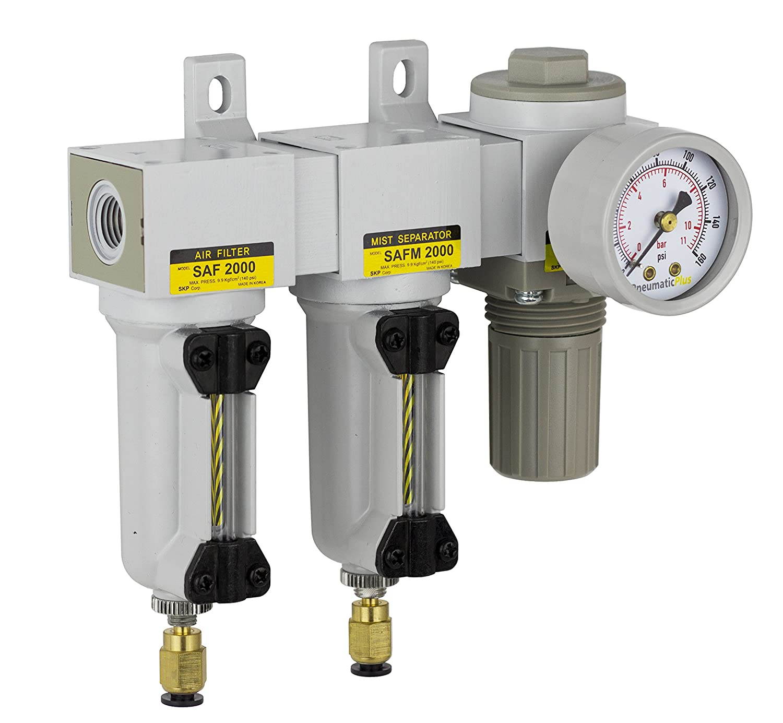 PneumaticPlus SAU2030M-N02DG-MEP Mini Three Stage Air Drying System, 1/4 NPT - Particulate Air Filter, Coalescing Filter, Air Pressure Regulator Combo - Metal Bowl, Auto Drain