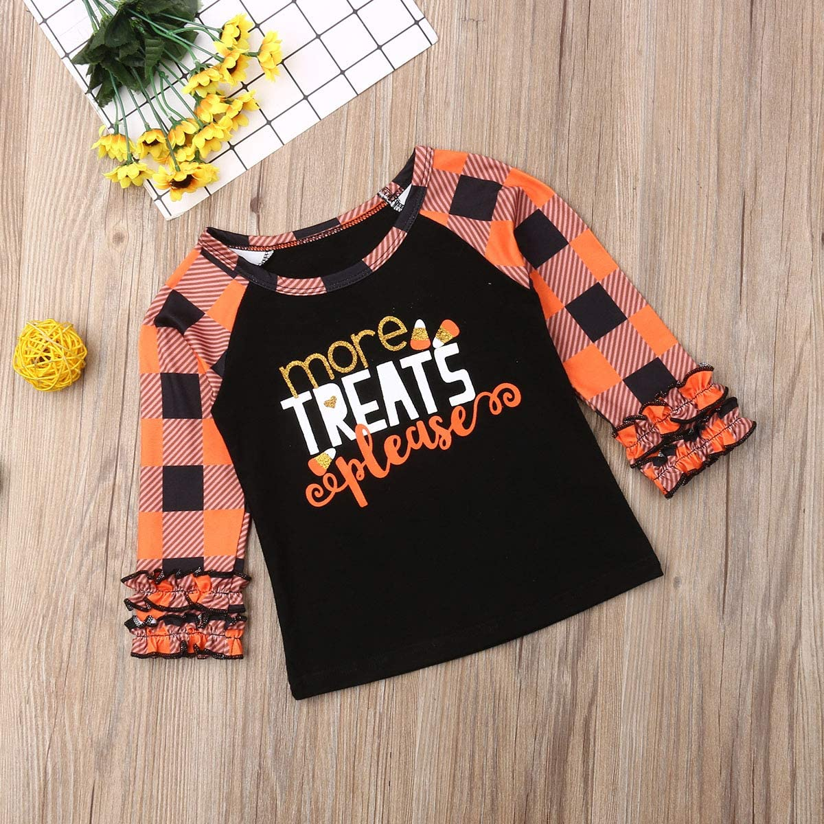 Infant Toddler Baby Girl Halloween Pumpkin Plaid T-Shirt Ruffle Flare Pullover Tops Fall Clothes Outfit