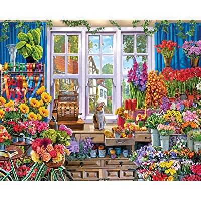 White Mountain Puzzles Flower Shop - 1000 Piece Jigsaw Puzzle: Toys & Games