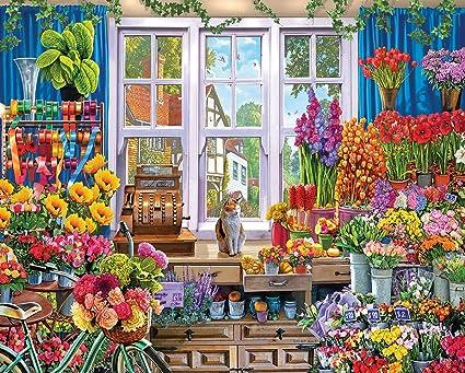Amazon White Mountain Puzzles Flower Shop 1000 Piece Jigsaw