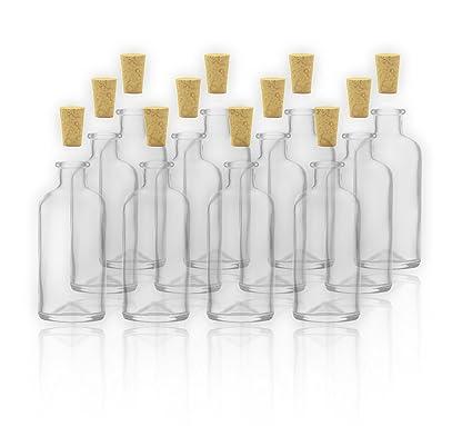 12 Apothekerflaschen/botellas de vidrio con Cork 100 ml/10 cl en botellas de