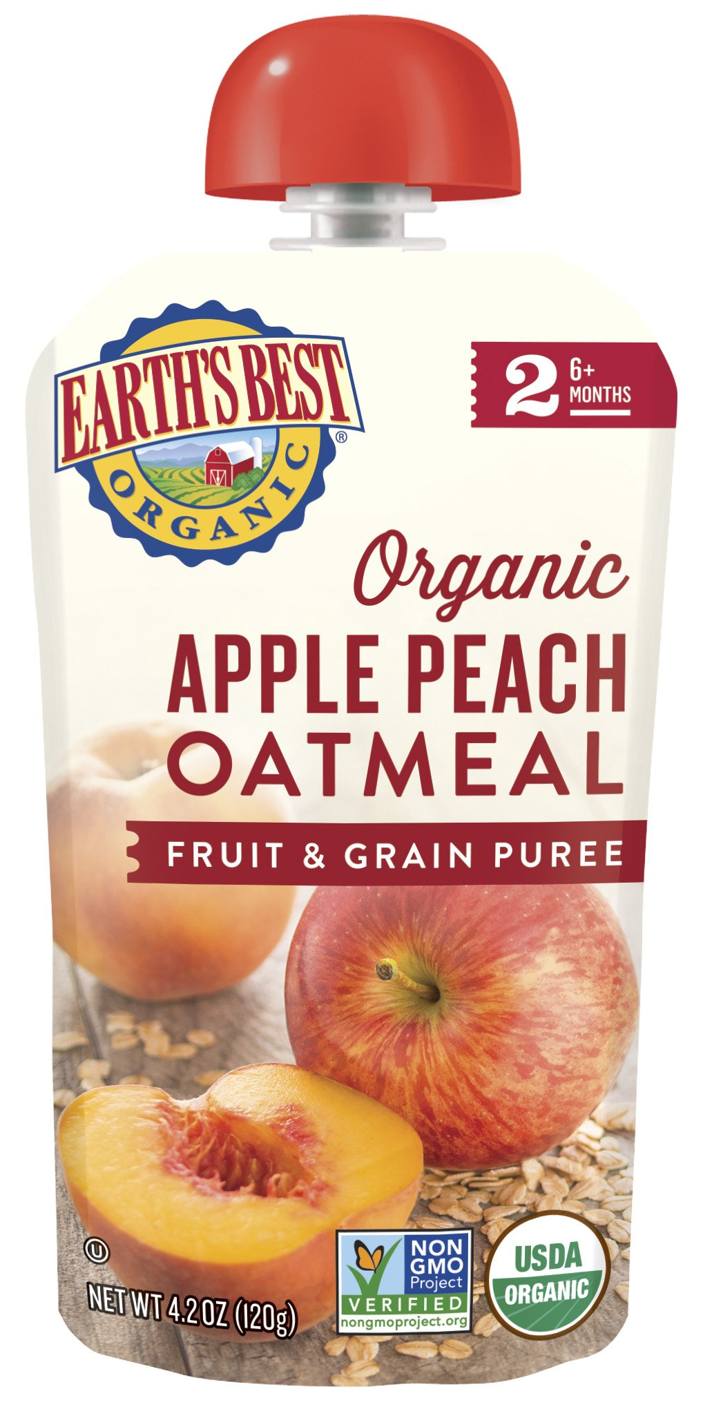 Earth's Best Organic Stage 2 Baby Food, Apple Peach and Oatmeal, 4.2 oz. Pouch (Pack of 12) by Earth's Best (Image #2)