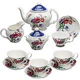 Grace Teaware Bone China 11-Piece Tea Set (Poppy Day)
