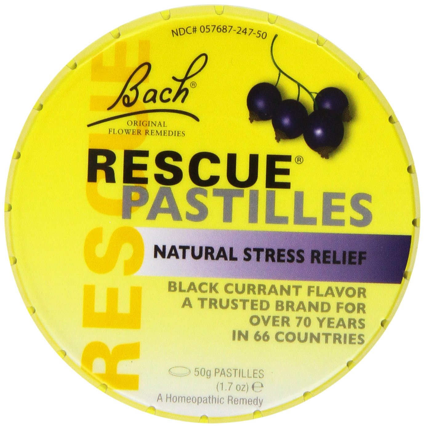 Bach Rescue Remedy Pastilles, Black Currant, 1.7 oz (Pack of 4)