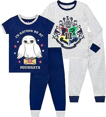 HARRY POTTER Pijamas de Manga Corta para niñas Paquete de 2 de Ajuste Ceñido