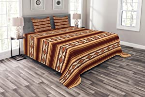 Ambesonne Native Bedspread, Native Indigenous Pattern Prehistoric Country Theme, Decorative Quilted 3 Piece Coverlet Set with 2 Pillow Shams, Queen Size, Maroon Beige