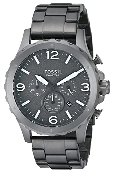 a296a4493eca Fossil Men s JR1469 Nate Smoke Chronograph Stainless Steel Bracelet Watch   Fossil  Amazon.ca  Watches