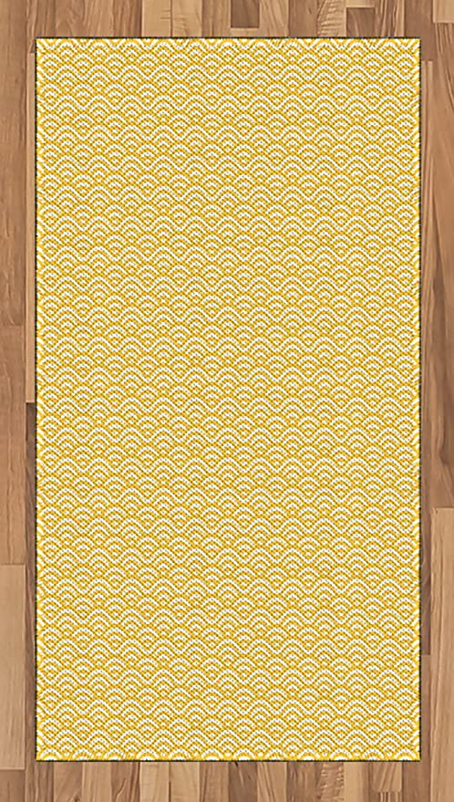Amazon Com Ambesonne Yellow Area Rug Sea Ocean Inspired Abstract Vintage Style Waves Linear Ornament Style Flat Woven Accent Rug For Living Room Bedroom Dining Room 2 6 X 5 Marigold White Kitchen