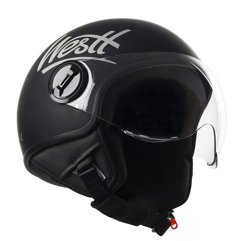 Amazon.es: Westt Classic · Casco Moto Abierto Negro Mate con Visera ECE Homologado · Casco Moto Jet Ligero para Mujer Hombre Motocicleta Vespa Scooter