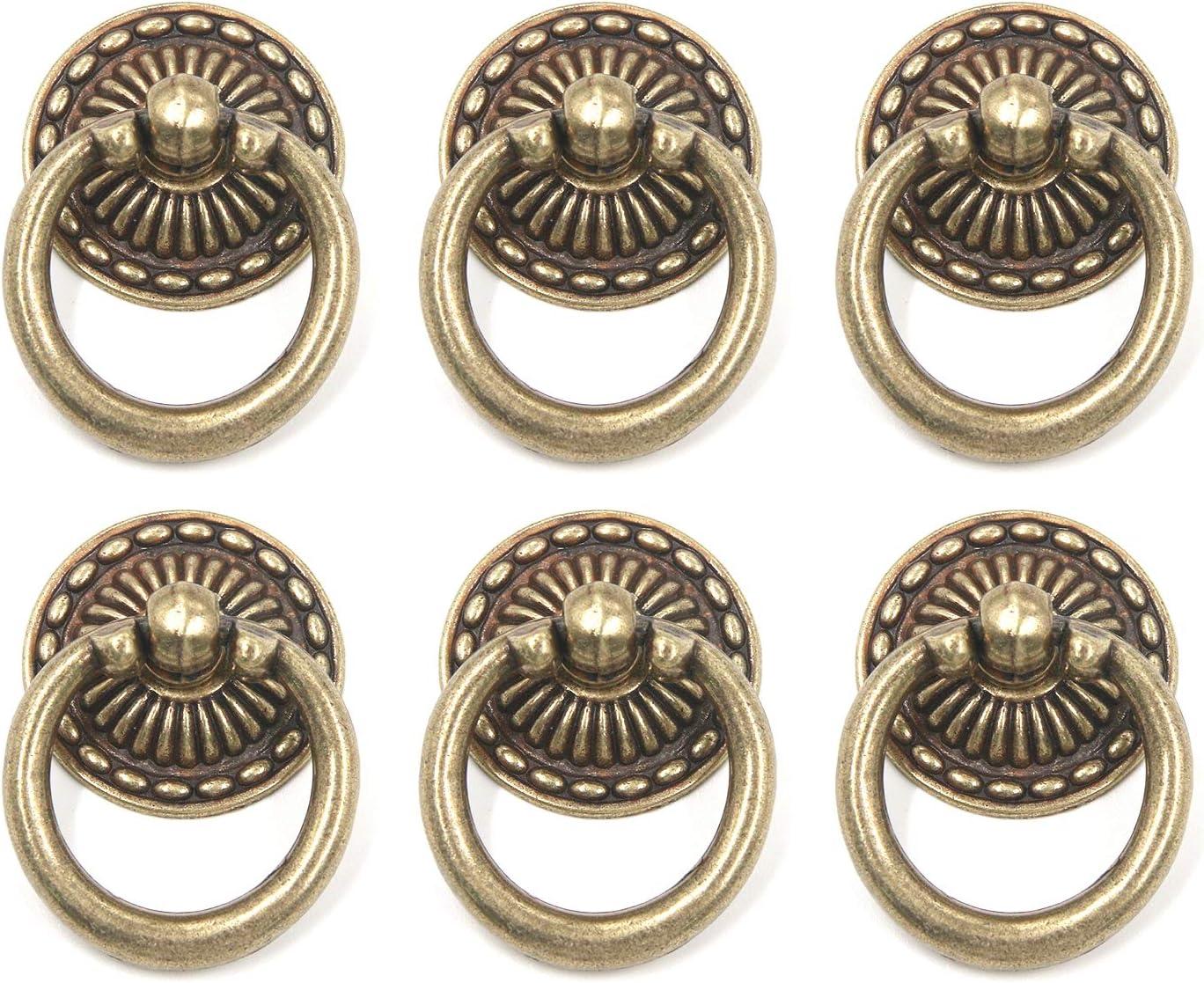 MTMTOOL Vintage Bronze Knobs Pulls Handles Zinc Alloy Antique Ring Drawer Pulls Handle Furniture Decorative Hardware Cabinet Dresser Pull Ring with Screws Pack of 6