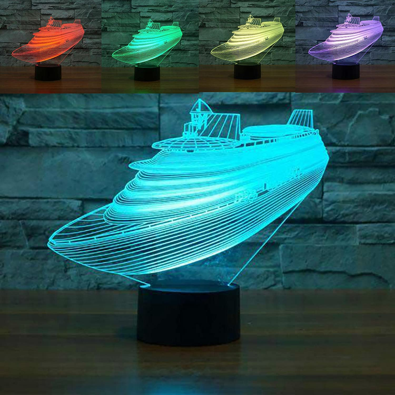 3dボート夜ライトテーブルデスクOptical Illusionランプ7色変更ライトLEDテーブルランプXmasホームLove Brithday子供キッズ装飾おもちゃギフト B07C14BYTD 16201