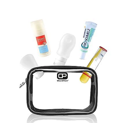ChackPack Air - bolsa transparente com botellas de silicona, cepillo de dientes, pasta de