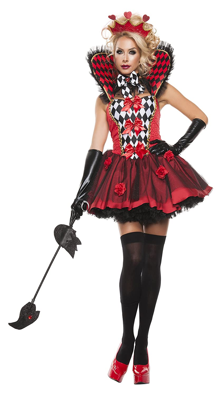 Women's Sexy Queen of Hearts 4-Piece Rose Costume Set - DeluxeAdultCostumes.com