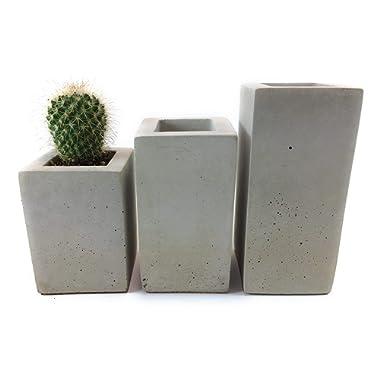 Square Concrete Succulent Planters/Air Plant Holder/Vase. (set of 3) Natural Gray.Cement Succulent pots. Modern Planter set