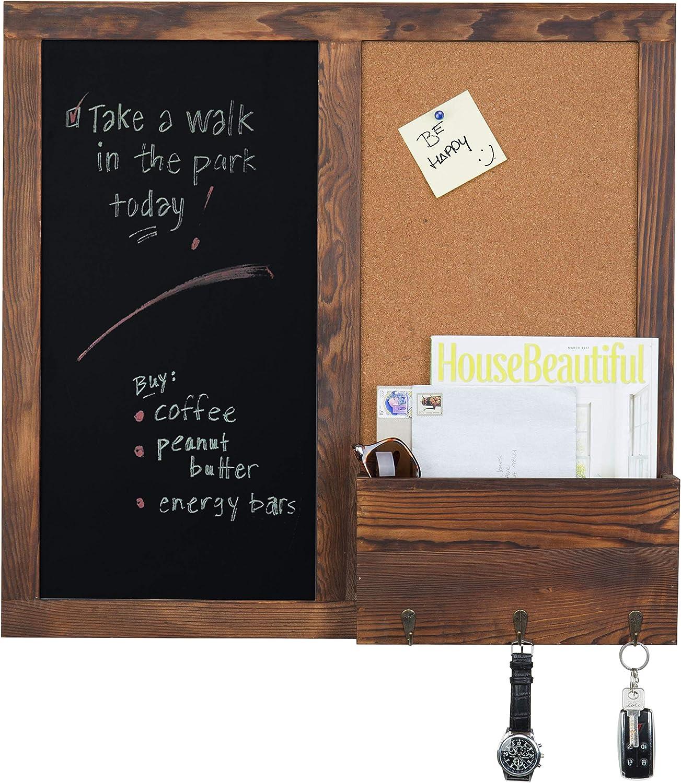 MyGift Rustic Dark Brown Wood Wall-Mounted Chalkboard with Cork Board, Mail Sorter, Key Hooks