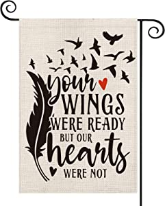 AVOIN Memorial Day Saying Feather Love Heart Garden Flag Vertical Double Sided, Holiday Yard Outdoor Decoration 12.5 x 18 Inch