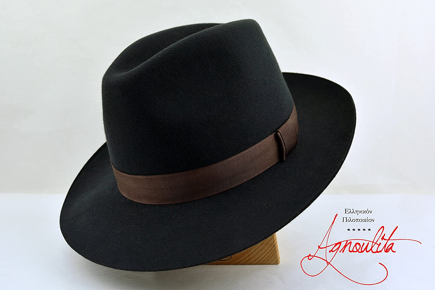 Dark Slate Grey Regency Fedora - Wide Brim Rabbit Fur Felt Handmade Fedora Hat