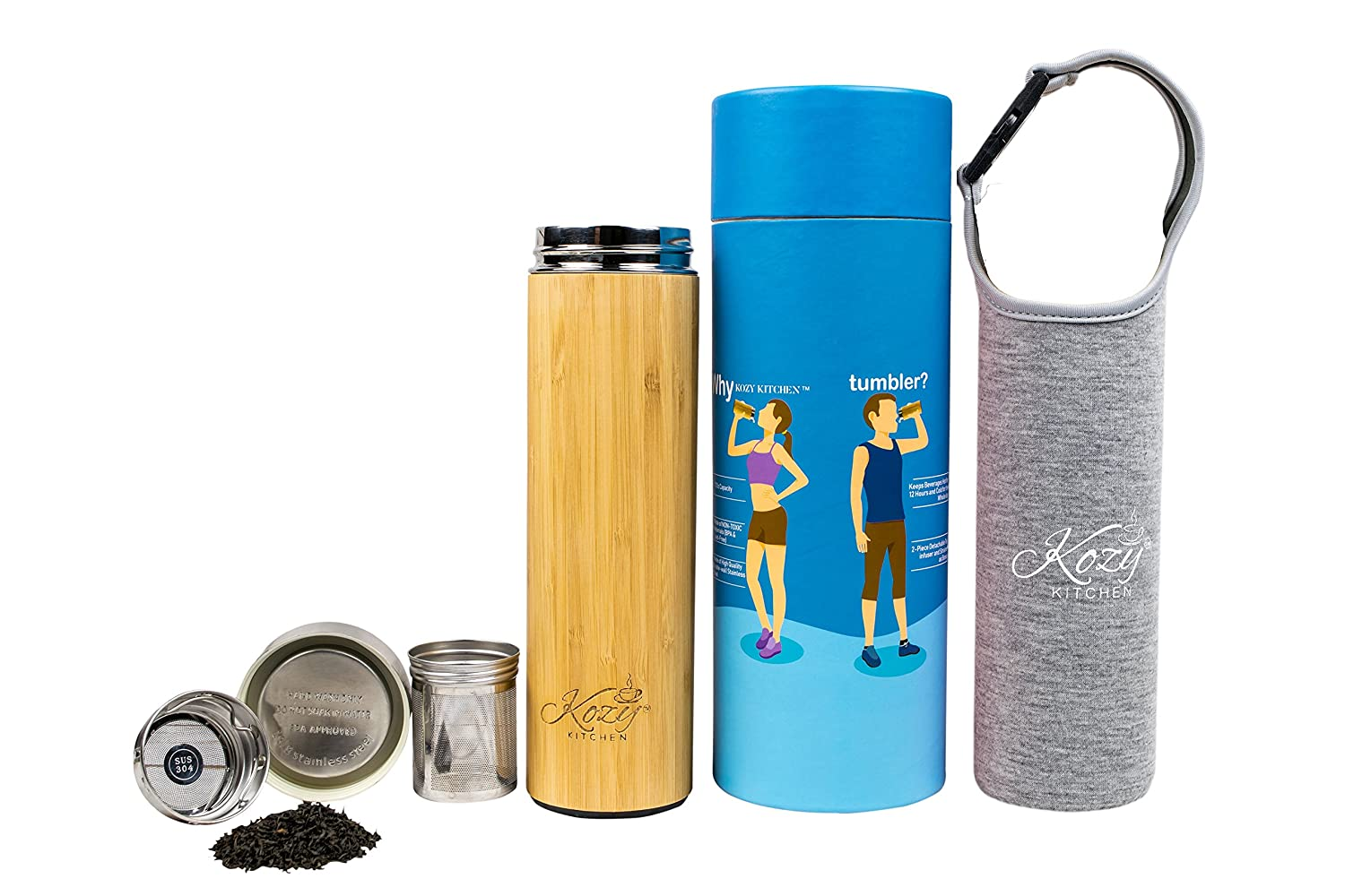Organic Bamboo Tumbler with Tea Infuser & Strainer by Kozy Kitchen| 17oz Stainless Steel Water Bottle| Insulated BPA-Free Travel Mug With Mesh Filter for Brewing Loose Leaf |Gift For Tea Lovers (Gray) Kozy Sweet Home BT-2509
