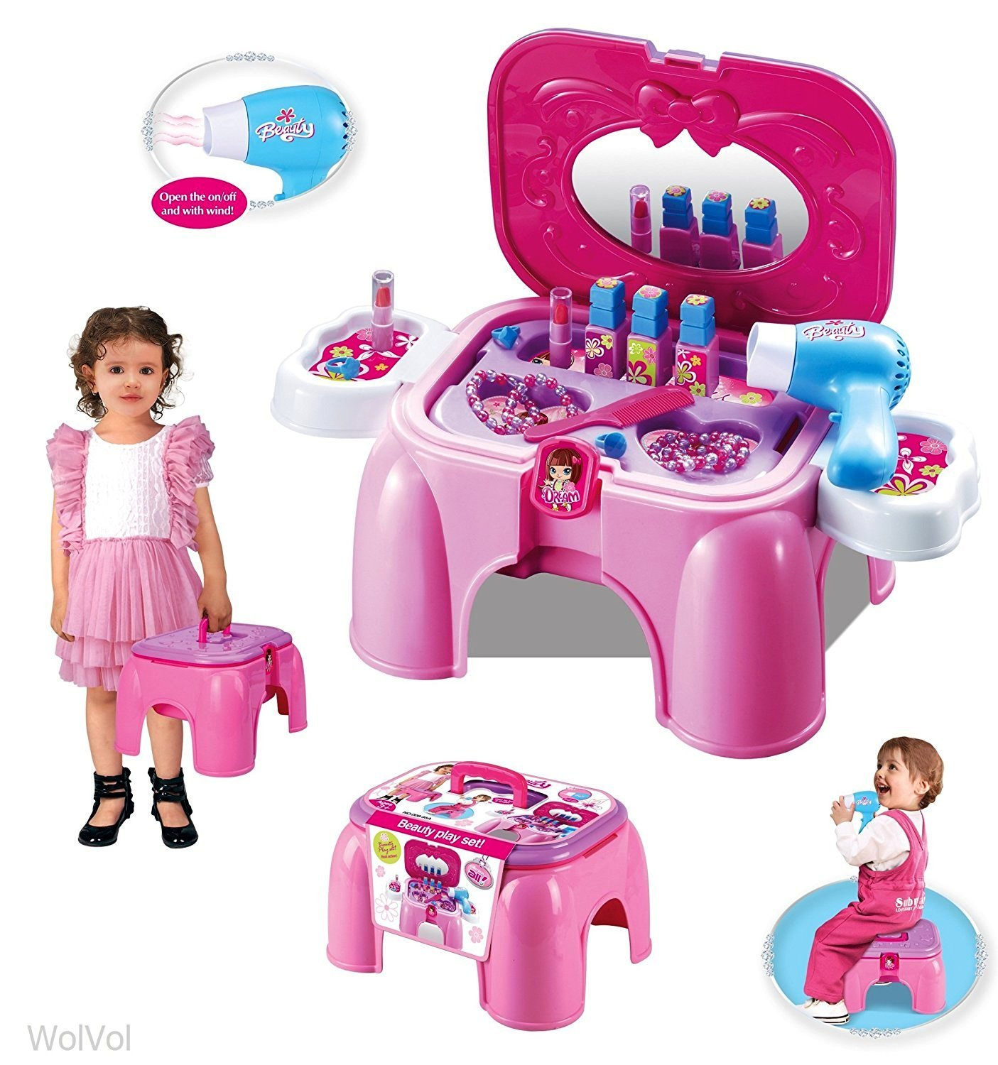 WolVol Electric Take Along Kids Salon Vanity Playset Activities with Mirror and Working Hair Dryer, Folds into Step Stool (Pink)