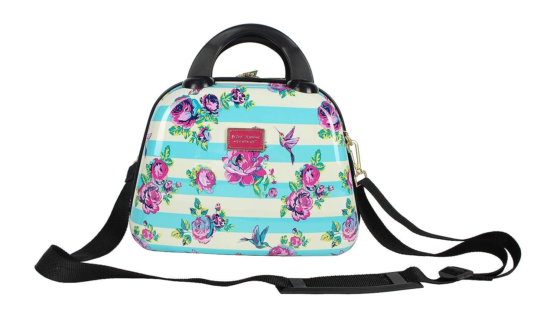 Betsey Johnson Hardside Cosmetic Case - Lightweight Small Size Hardshell Travel Hand Makeup Bag - Adjustable Shoulder Strap - Bag for Women and Girls - Multi-Functional Case (Hummingbird)