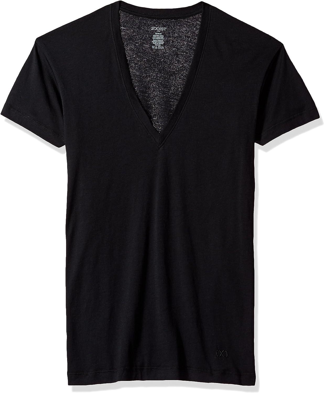 2(X)IST Pima Cotton Slim Fit Deep V-Neck T-Shirt Underwear