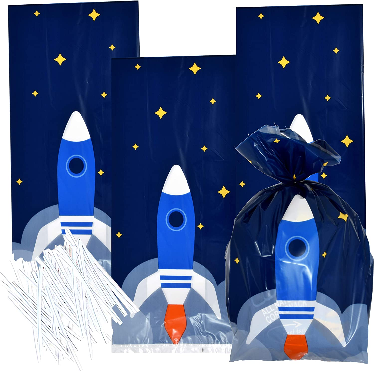PROLOSO 24 Pack Outer Space Party Favor Bags with Stickers Clips Rope Planet Galaxy Treat Bags Candy Goody Bags Gift Bags Solar System Theme Party Supplies