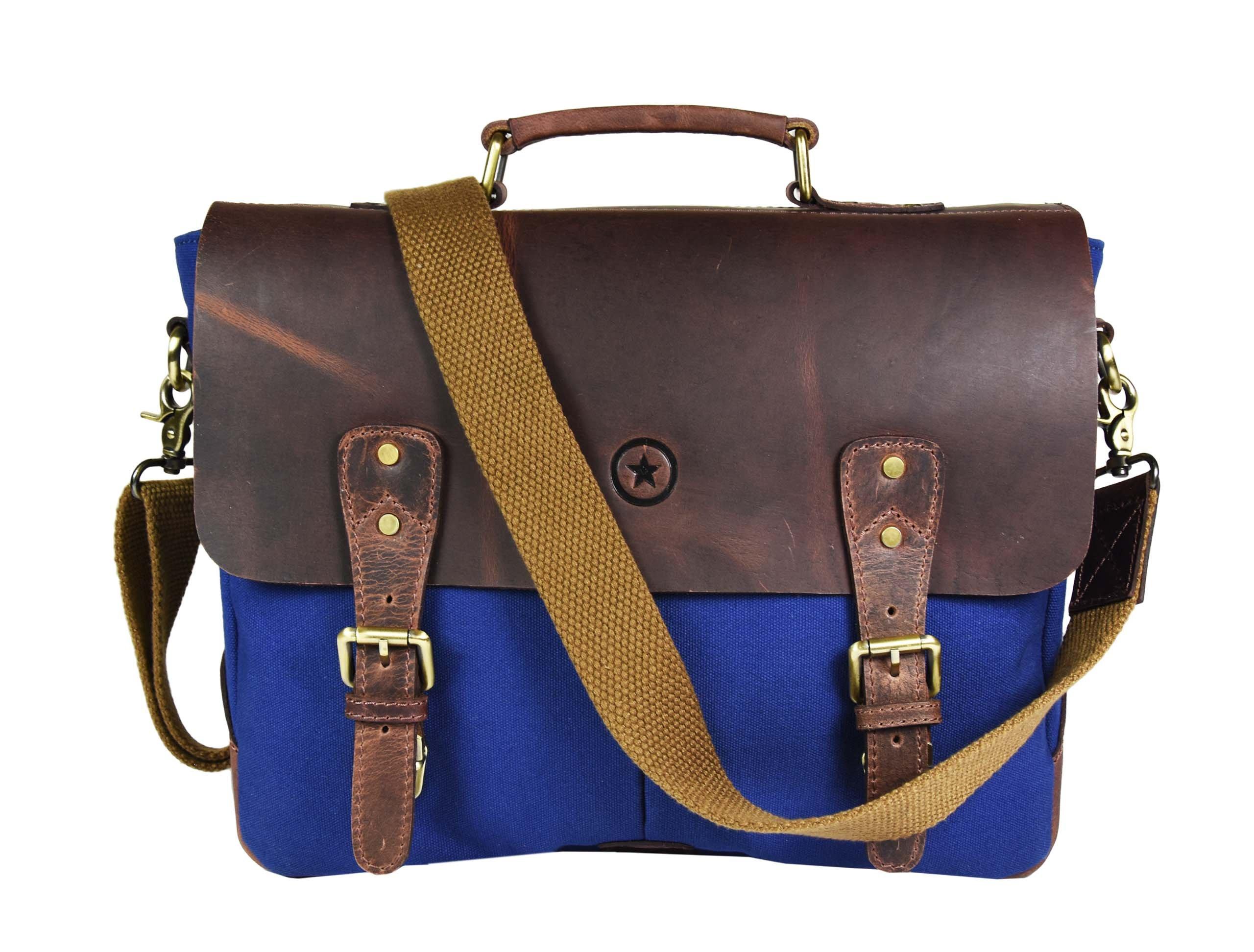 "14.5"" Vintage Handmade Leather Canvas Messenger Bag | Multiple Compartments Zippered Pockets Cross-Body Bag (Zaffre Blue)"