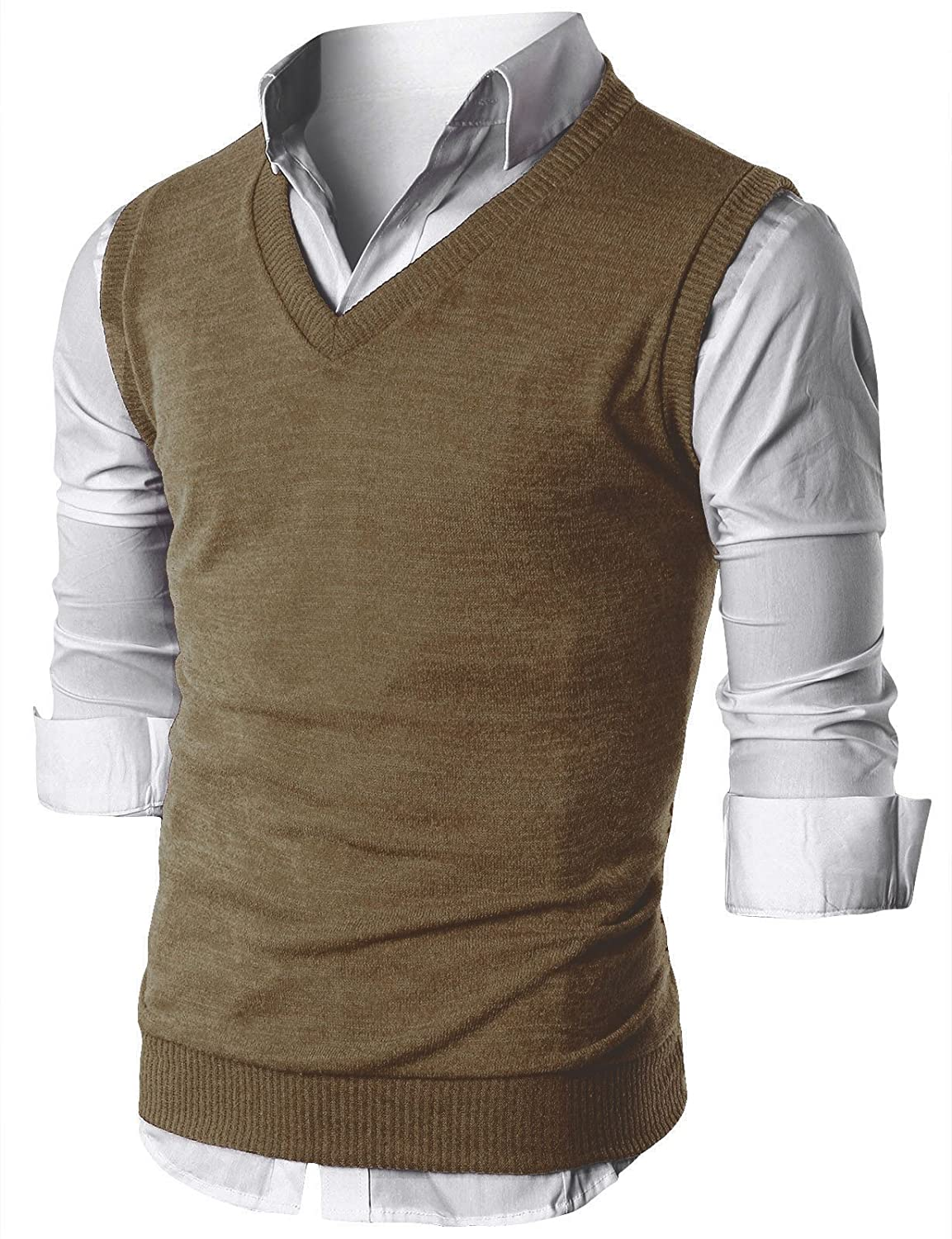 Ohoo Mens Slim Fit Casual V-Neck Knit Vest