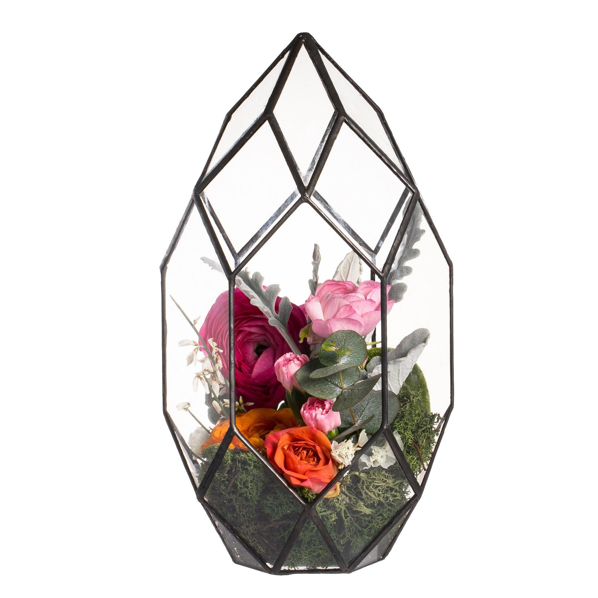 Black Oval Egg Geometric Glass Terrarium Centerpiece Candle Holder Lantern Wedding Party Decoration Ornament Indoor Desktop Flowers Container