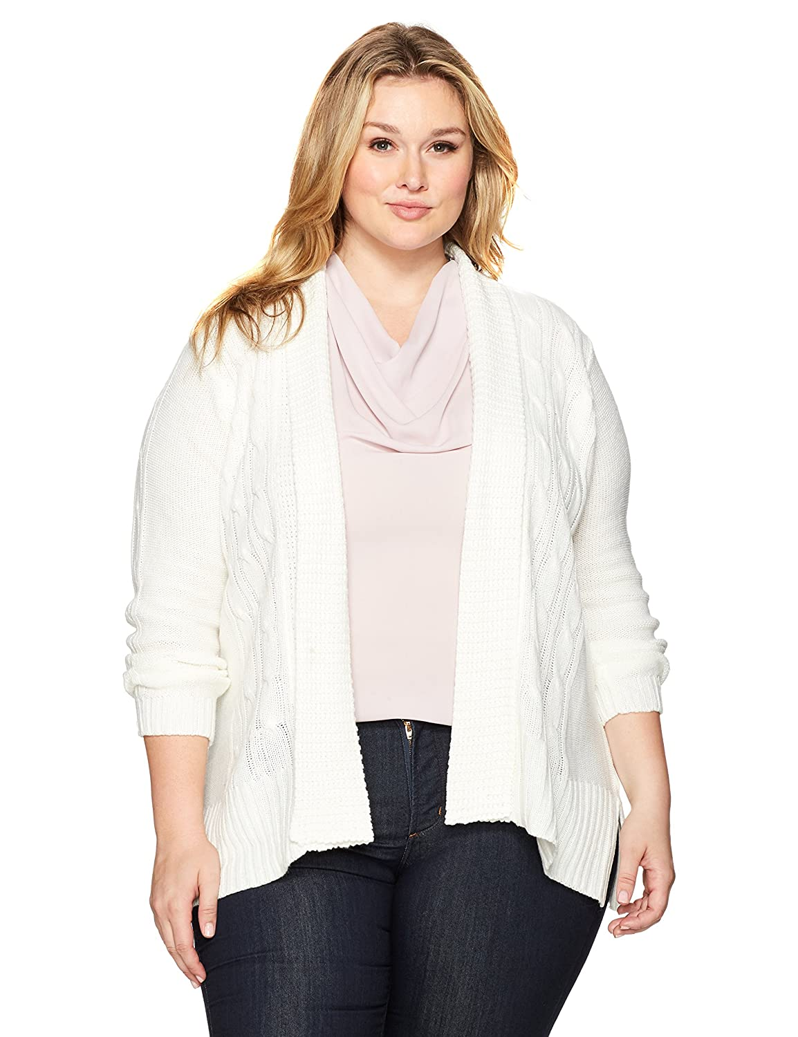 Jason Maxwell Women's Long Sleeve Solid Turnback Collar Cardigan 170860