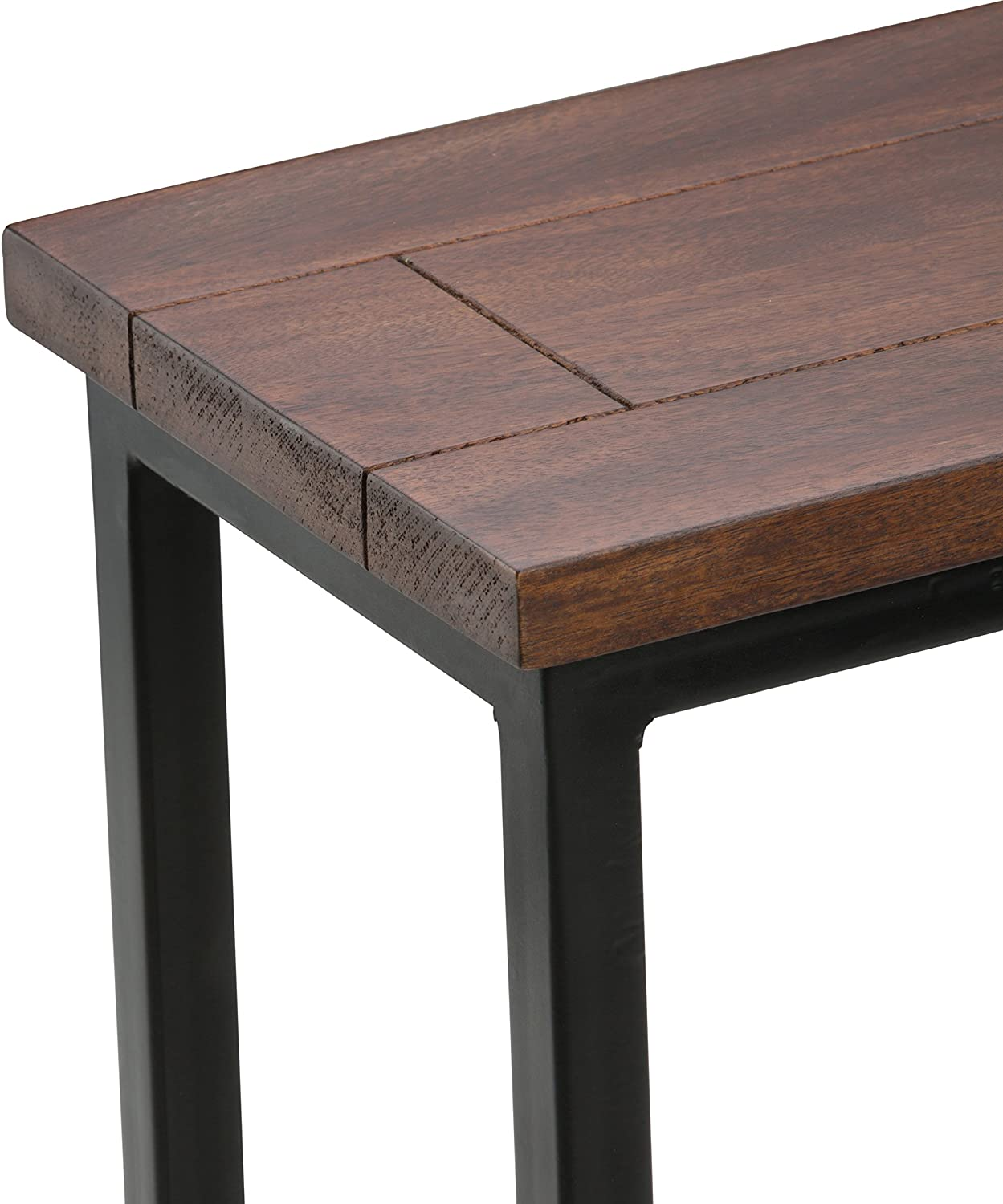 Simpli Home Skyler Solid Mango Wood and Metal 18 inch wide Rectangle Industrial C Side Table in Dark Cognac Brown, Fully Assembled, for the Living Room and Bedroom: Furniture & Decor