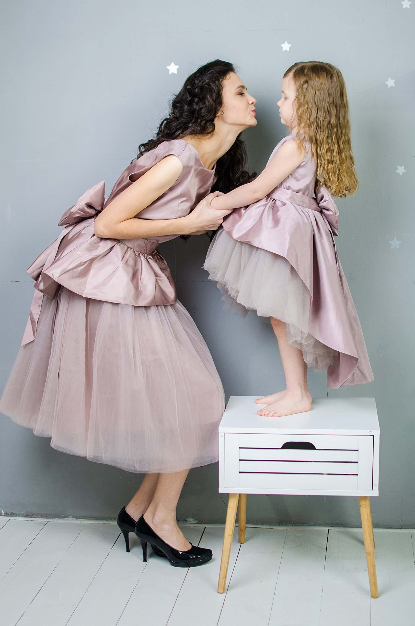 Matching Party Dresses Mother Daughter Matching Dress Outfits Mommy and Me Formal Dresses Taffeta and Tulle Baby Birthday Dresses