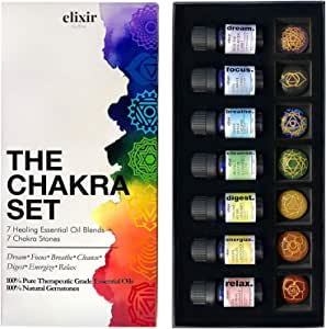 Elixir by Bita Chakra Set - Includes 7 Pure Essential Oil Blends & 7 Chakra Healing Stones Great for Energy Focus & Relaxation 100% Natural & Effective - Made in USA, Premium Quality Therapeutic Grade