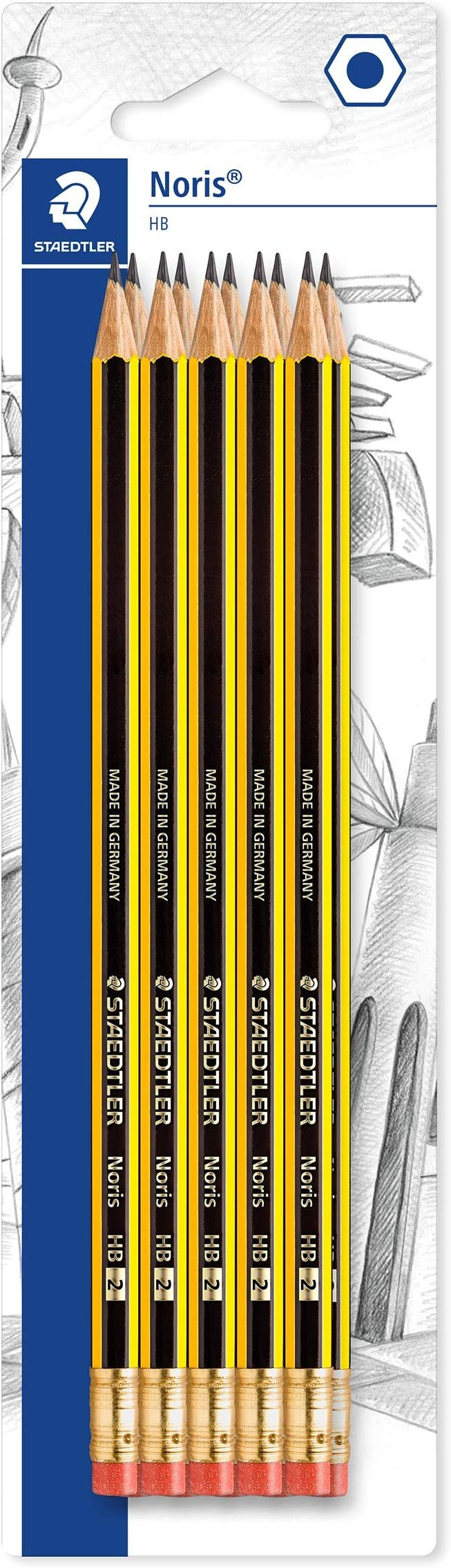 STAEDTLER Noris Ergosoft D/égr/é Of Hardness 2B Pencils Pack Of 6