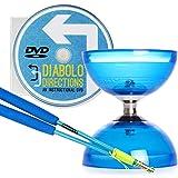 Blue Cyclone Quartz 2 Triple Bearing Diabolo & Blue Superglass Diablo Sticks Set with Diabolo Directions DVD!