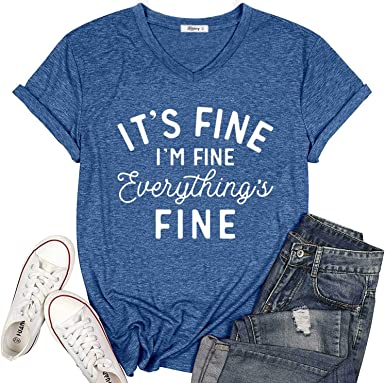 KIKIBERRY Women's I'm Fine Everything is Fine T-Shirts Short Sleeve Sayings Casual Cute Graphic Tee Blouse Tops